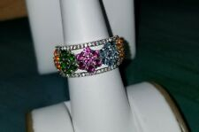 Chuck Clemency NYCII Sterling Silver chrome diopside-fire opal-topaz Flower Ring