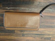 Coach Accordian Wallet Saddle Pebbled Leather  F52718