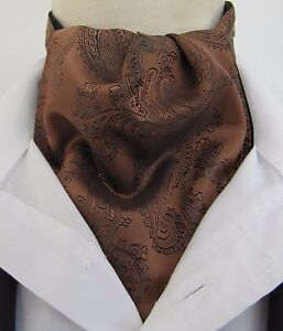 Mens Dark Copper & Black Paisley Silk Satin Ascot Cravat & Pocket Square