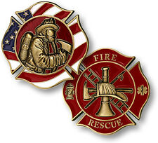 Firefighter In Mask / Fire and Rescue Maltese Cross Brass Challenge Coin