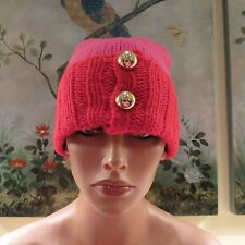 45b59e1a83bdc NEW WOMENS AUTHENTIC KATE SPADE RED   PINK 100% LAMBSWOOL GOLD BALL BEANIE  HAT