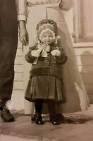 Vintage Old 1910 RPPC Real Photo Postcard Couple in Snow Little Girl in Bonnet