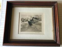 "Vintage Colored Ship Etching Print #136, Signed by Artist, Framed, 10"" x 9"""