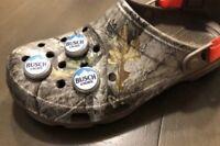 3 Busch light beer Bottle Cap Shoe Charms For Crocs.