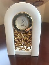 Mikimoto Mother Of Pearl Face Dangling Pearl Gold Plated Time Piece Desk Clock