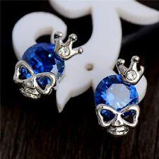Cubic Zirconia Heart Stud Earrings Silver Plated Skull & Crown Blue