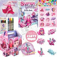 Pre Filled Girls Superhero Party Bags Box Birthday Gift Bag Favours Kids
