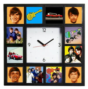The Monkees Davy Mike Peter Micky Clock with 12 pictures