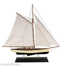 1930s Classic Yacht Large Wooden Model Sailboat by Authentic Models AS135