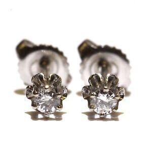 14k white gold .12ct SI2 H round diamond stud earrings estate vintage