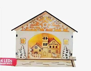 Christmas Wooden LED Light Up Nativity Christmas Scene 3D Effect Ornament Xmas