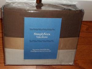 NIP Simply Vera Wang Sand Border Full/Queen Duvet Cover Set 3pc