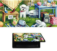 Bichon Frise CHECKBOOK cover puppy wallet dog art of original painting