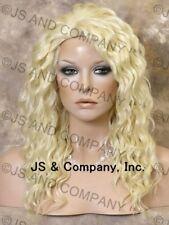 HEAT SAFE HUMAN HAIR Blend Long Wavy Layered Pale Blonde Full Wig WBPL 613
