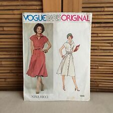 Vintage VOGUE 'Nina Ricci' #1245 SHIRT Dress SEWING Pattern SIZE 12