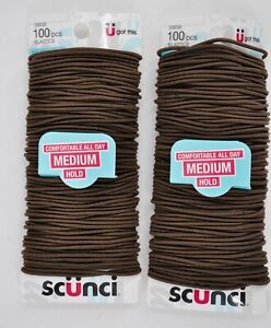Lot of 2 Scunci No Damage Hair Ties Hold Comfortable All Day MEDIUM Brown 100 pc