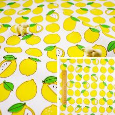 YELLOW WHITE Fat Quarter/Meter/FQ Cotton Sewing Craft Fabric Summer Fruit Lemon