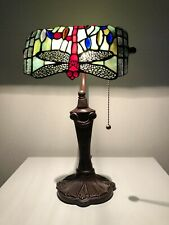 """Enjoy Tiffany Table Lamp Stained Glass 10""""Lamp Shade Iron Base W10.50H16 ET1001"""