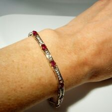 Natural Red Ruby Diamond Tennis Bracelet 14K Yellow and White Gold Vintage Fine