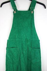 Vtg GREEN corduroy dungaree style pinafore bib and brace dress sz S Alexa Style