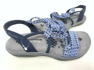 NEW! Skechers Women's REGGAE SLIM STRETCH APPEAL Sandals Navy #40826 165A