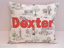 Boys CATH KIDSTON FABRIC Personalised CUSHION incl PAD  Billie Goes To Town