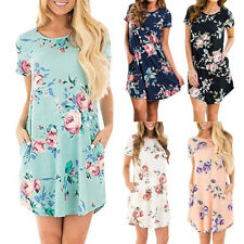 Women Summer Short Sleeve Crew Neck Boho Floral Casual Tunic Mini Pocket Dress