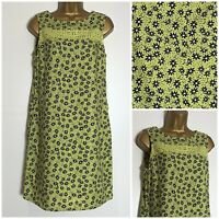 Next Lime Floral Print Linen Blend Pocket Shift Dress 6 - 26/8-12 P/14T (n-88h)