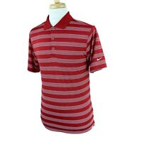 Nike Golf Men's Dri-Fit Short Sleeve Pullover Red White Stripe Polo Shirt Small
