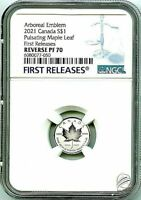 🍁 2021 $1 1/20 OZ CANADA SILVER PULSATING MAPLE LEAF NGC PF70 REV PROOF 🍁
