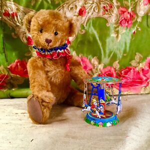 """9"""" OOAK MOHAIR TEDDY BEAR WITH TIN CAROUSEL BY MARCIA DEHAVEN/DEHAVEN ORIGINALS"""