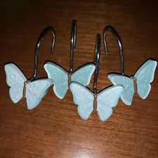 12 Pack Blue Butterfly Decorative Resin Hooks for Bathroom Shower Curtain