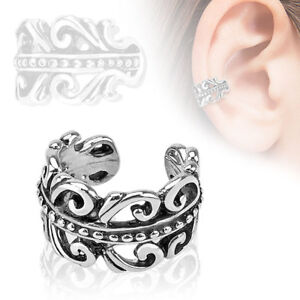 Coolbodyart Ladies Rhodium Silver Ear Clips Pattern Swirl
