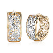 Yellow Gold Plated Earrings  Hoop Huggies AAA Zirconia Latch Back Clasp L571