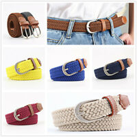 Unisex Elastic Woven Leather Band Pin Buckle Belt Trendy Canvas Waist Straps New