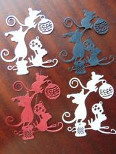 TATTERED LACE Christmas Mice die Cuts cut Mouse Mice Baubles Sewing x 6any colou