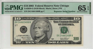 2003 $10 FEDERAL RESERVE NOTE CHICAGO REPEATER SERIAL PMG GEM UNC 65 EPQ (488B)