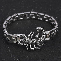 Scorpion Charm Bracelet Stainless Steel Chain Bangles Wristband Punk Jewelry Men