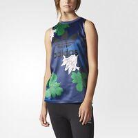 adidas Originals Women's Floral Engraving Satin Floral Print Tank Top - Blue