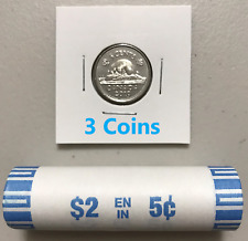 CANADA 2019 New 3x 5 cents ORIGINAL BEAVER Circulation coin (UNC From mint roll)