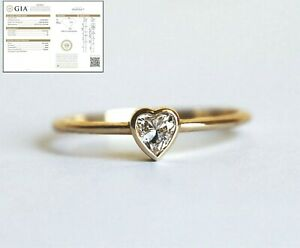0.30 Ct Heart Shape GIA Certified Diamond Engagement Ring 14k Yellow Gold SI2/G