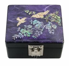 Lacquer inlaid mother of pearl wood  trinket jewelry jewel box Japanese apricot