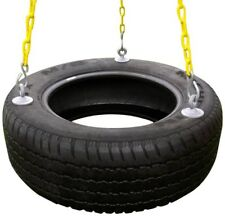 Outdoor Rubber Tire Swing for Backyard Playset with 3 Rubber Coated Swing Chains