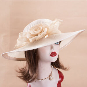 Womens Church Kentucky Derby Carriage Wedding Satin Ribbon Sinamay Hat X755