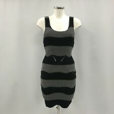 Hilfiger Denim Dress UK XS Women Black Grey Striped 100% Cotton Knit  280625