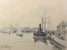 Ecole Normande ,Bretonne ? Marine aquarelle / gouache vers 1900 SIGNATURE