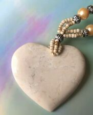 Cream Stone Necklace Bead Ceramic Heart Pendant Ivory