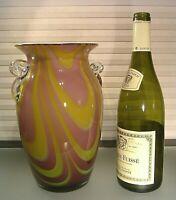 "Vintage Italian Murano Lilac Swirl Cased Art Glass 10"" VASE"