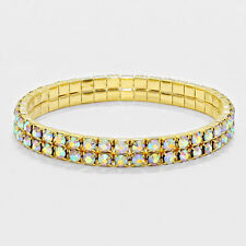 Rhinestone Bracelet 2 Row Wide Stretch Bangle Crystal Pave Wedding Bride GOLD AB