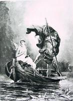 Mythology CHARON TAKES CUTE NAKED NUDE GIRL PSYCHE TO UNDERWORLD, 1892 Art Print